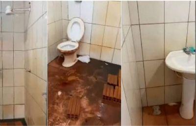 Mulher registra péssimas condições de banheiro em Multinacional no Espigão do Leste em MT